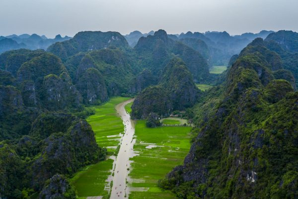 Aerial view Tourists traveling in boat along the Ngo Dong River and taking picture of the Tam Coc, Rower using feet to propel oars. Landscape formed by karst towers and rice fields, Tam Coc, Ninh Binh, Vietnam.